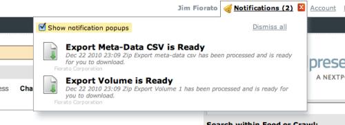 Export Complete Notification
