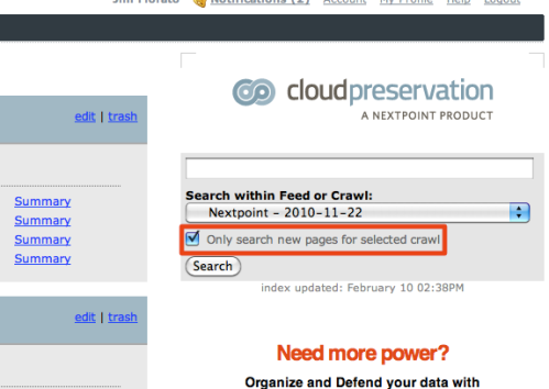 Limit Search To New Pages and Documents