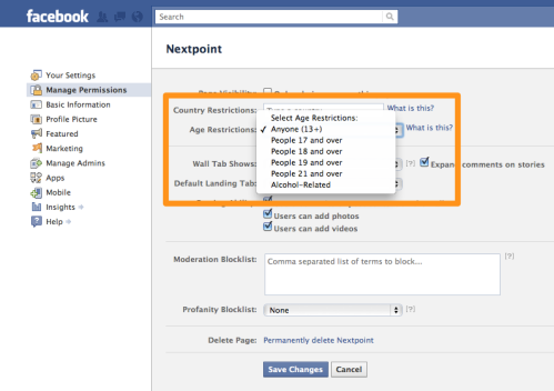 Facebook Page Permissions